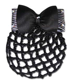 Bun hairnet with bow and clasp