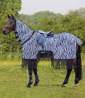 Zebra exercise fly sheet with fringe