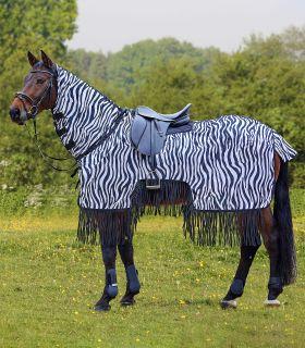 Zebra exercise fly sheet with fringe
