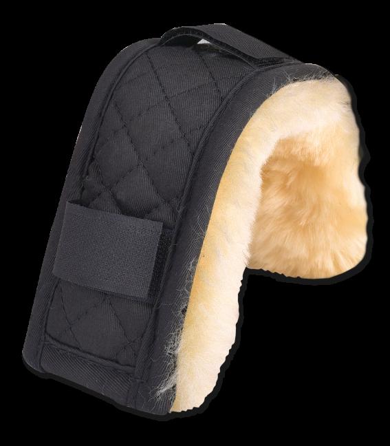 Protection muserolle ou têtière en mouton véritable, 18 cm