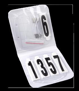 Set de numéros de départ, ovale, avec élastiques