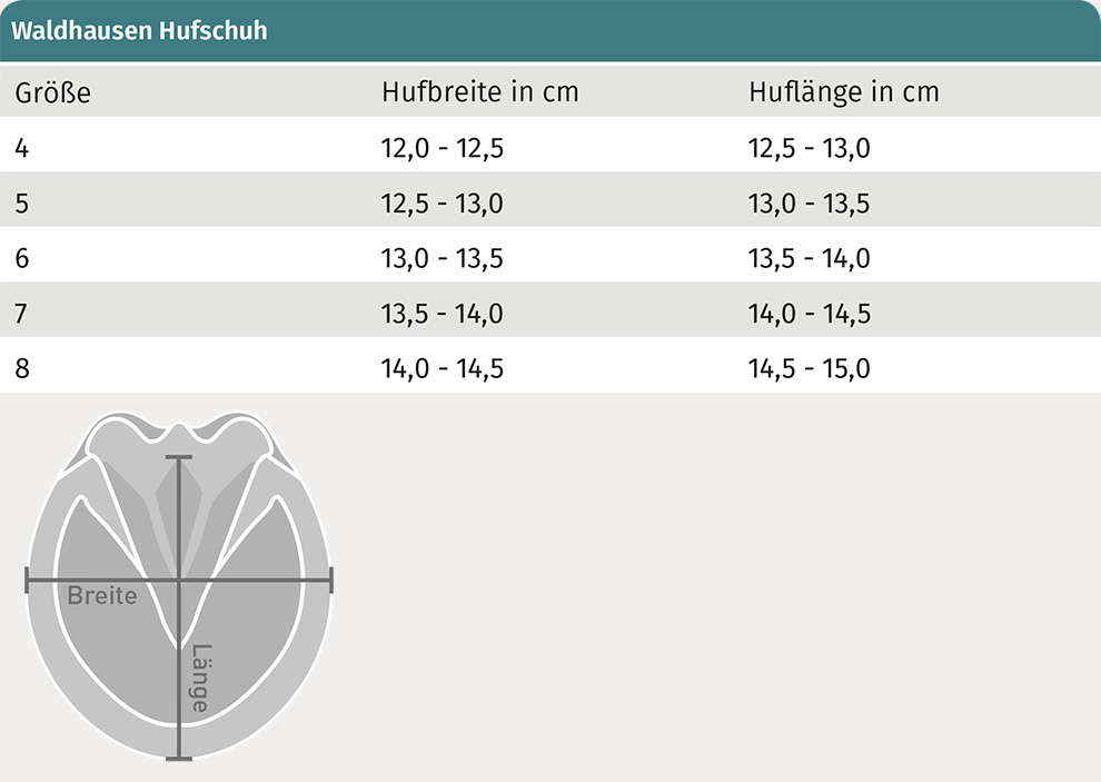 Size Table for Waldhausen Hoofboot, piece