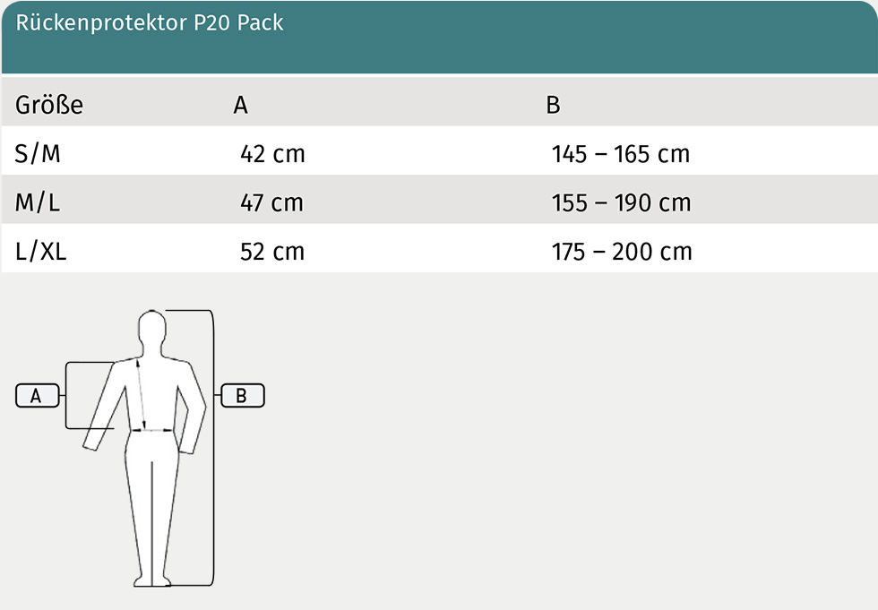 Size Table for SWING Pack P20