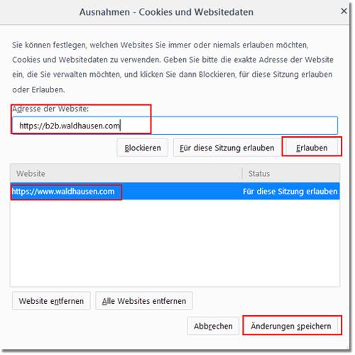 Firefox Ausnahmen