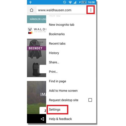 Chrome mobile Menu